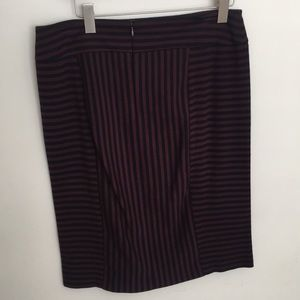 Stretch pencil skirt; wine black multi stripe